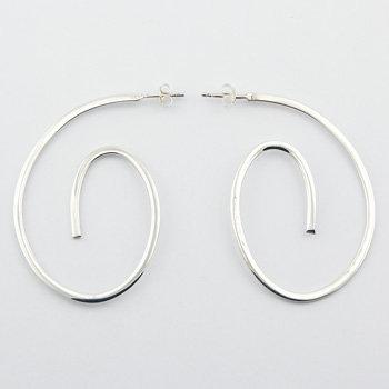 Artsy curved modern hoop stud earrings