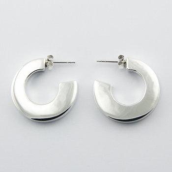Bold curved silver hoop stud earrings