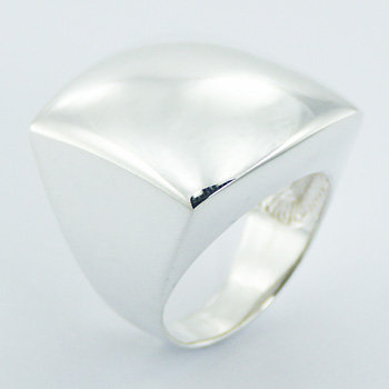 Bold silver square shaped ring