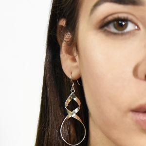 Bold twisted dangling silver earrings