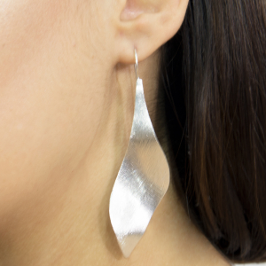 Brush finish silver drop earrings
