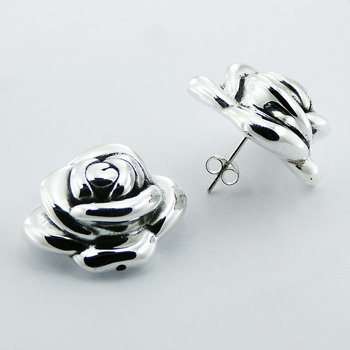 Classic round rose cut silver stud earrings