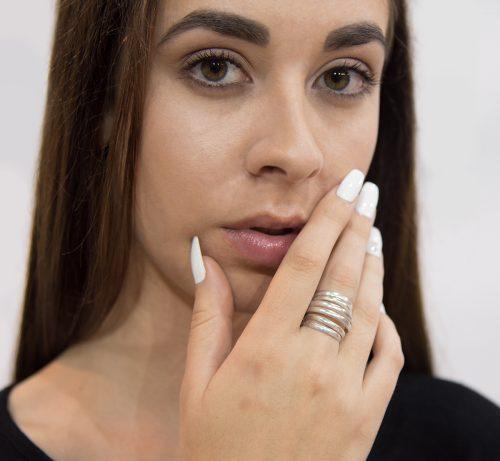 Designer coil inspired silver ring