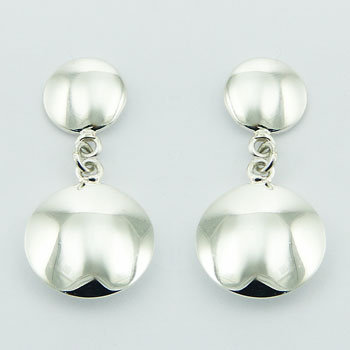 Double shiny drop stud earrings