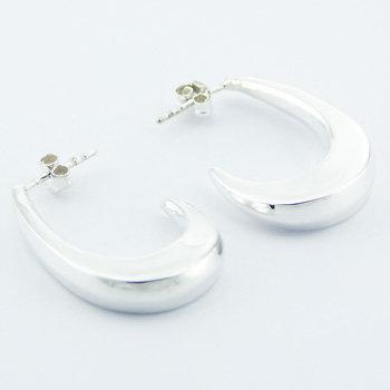 Elegant curved silver stud earrings
