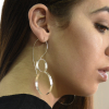 Long two hoops dangle silver earrings