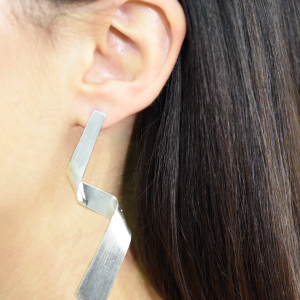 Long zigzag silver stud earrings