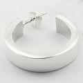 Modern silver classic hoop stud earrings