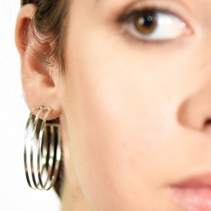 Modern silver classic stud hoops