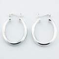 Oval shaped silver hoop earrings