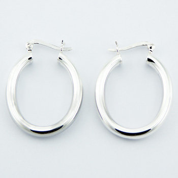 Oval shaped silver hoop earrings