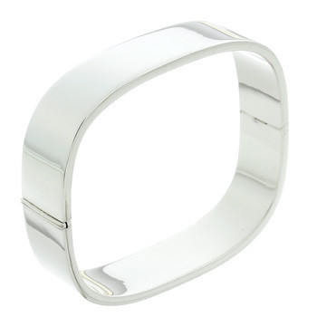 Rectangular shaped solid silver bangle