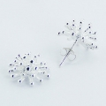 Shiny silver stud earrings