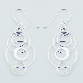 Silver dangle interlocked earrings