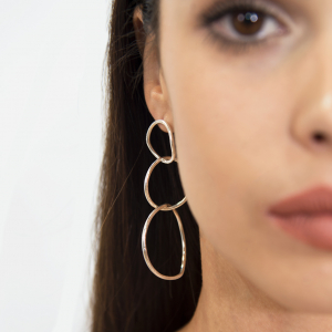 Silver hoops textured stud earrings