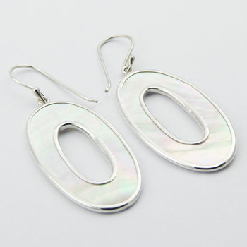 Silver mother of pearl oval earrings