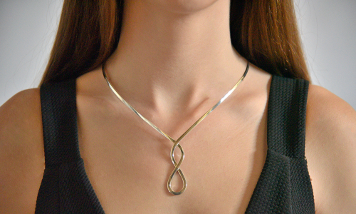 Simple classic silver choker necklace