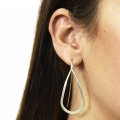 Simple tear drop long silver earrings
