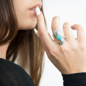 Snake Shaped turquoise silver ring