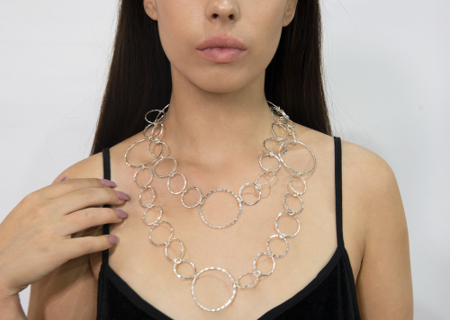 105 cm Solid sterling silver circular long necklace
