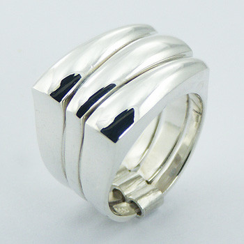 Stacked Square silver ring