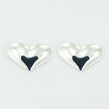 Sweetheart silver stud earrings