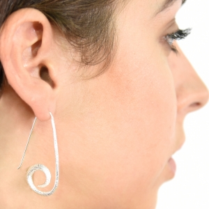 Textured spiral hook silver earrings
