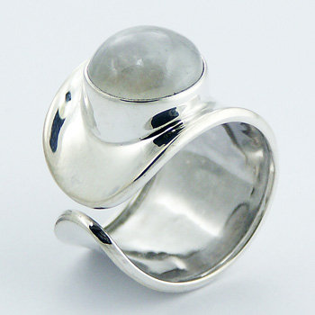 Thick band moonstone silver ring
