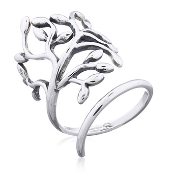 Tree branch wrap silver ring