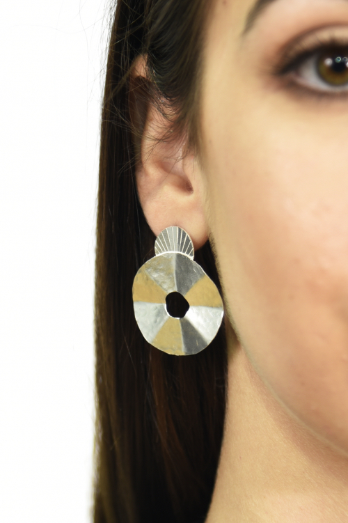 Tribal round textured stud earrings