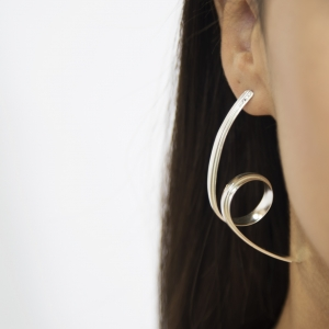 Twisted textured long silver stud earrings