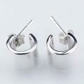 Wide silver stud earrings