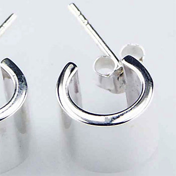 Wide silver stud earrings