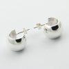 Wide stud simple silver earrings