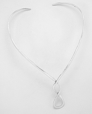 55 cm Sterling silver ball necklace