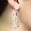 Bold twisted on hook silver earrings