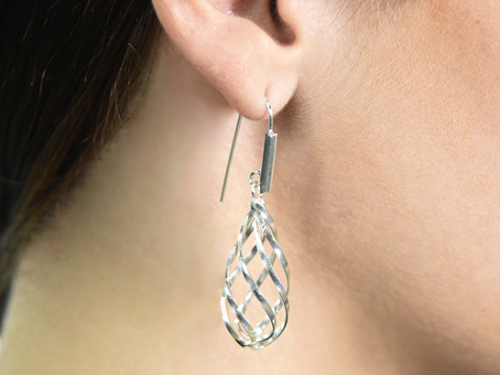Bold twisted on hook silver earrings