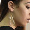 Long two hoops dangle silver earrings