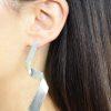 Long zigzag silver stud earrings