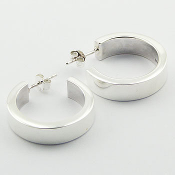 Modern silver classic hoop stud earrings
