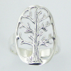 Oval shaped tree of life silver ring