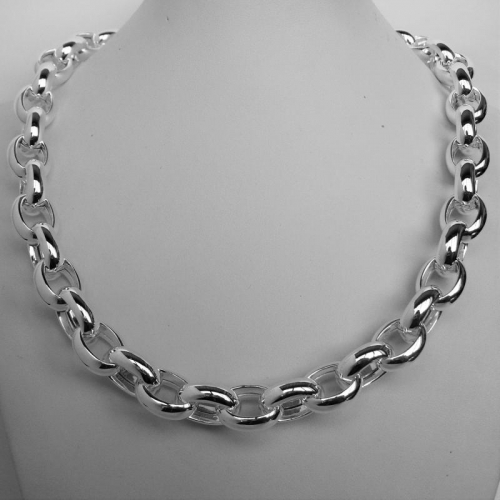 55 cm Oval shaped Belcher sterling silver necklace