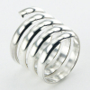 Spiral wirework band shaped silver ring