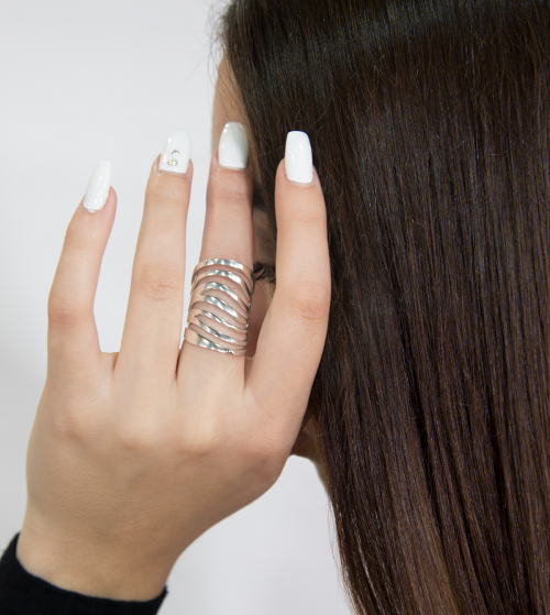 Zebra inspired statement silver ring